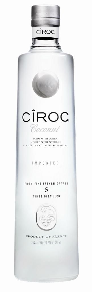 CIROC COCONUT FLAVORED VODKA…Delicious with pineapple juice!  Serve COLD in a freezer-chilled glass to fully appreciate the coconut overtones.  Yummy!