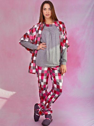 Pijama invierno mujer gris -homewear. http://www.perfumeriaelajuar.com/homewear/pijama-mujer-invierno-/00003632/pijama-invierno-mujer-vania-gris.html