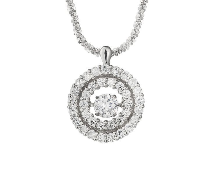 A Double Halo 18ct White Gold and Dancing Diamond Pendant