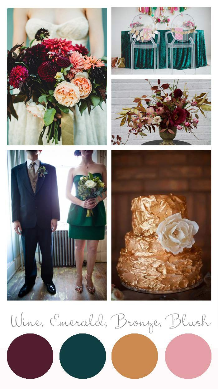 love the color palette for fall weding! but change the bronze to gold and perhaps the emerald to olive green
