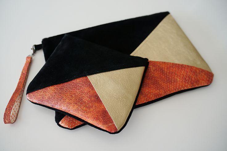 Pochette en cuir tricolore by Lyria M