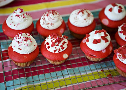 valentine cupcakes recipe pink white and red layers of cake - Valentine Cupcake Recipes