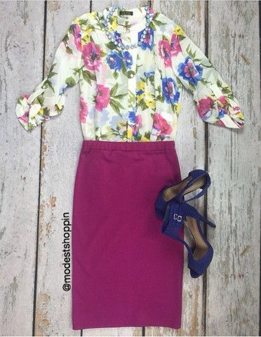 Love that colored pencil skirt. Not a fan of the top though.