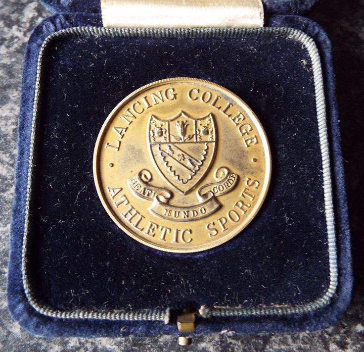 1928 LANCING COLLEGE ATHLETICS BOXED STERLING SILVER GILT MEDALLION / MEDAL