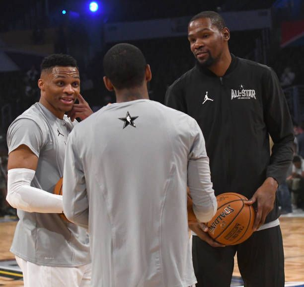 Russell Westbrook Kevin Durant and Kyrie Irving warm up during the NBA AllStar G… | All ...