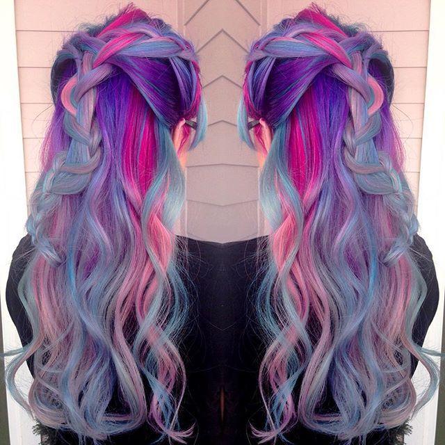 Beautiful mermaid hair unicorn hair rainbow hair by Amanda Lyberger. Love the…