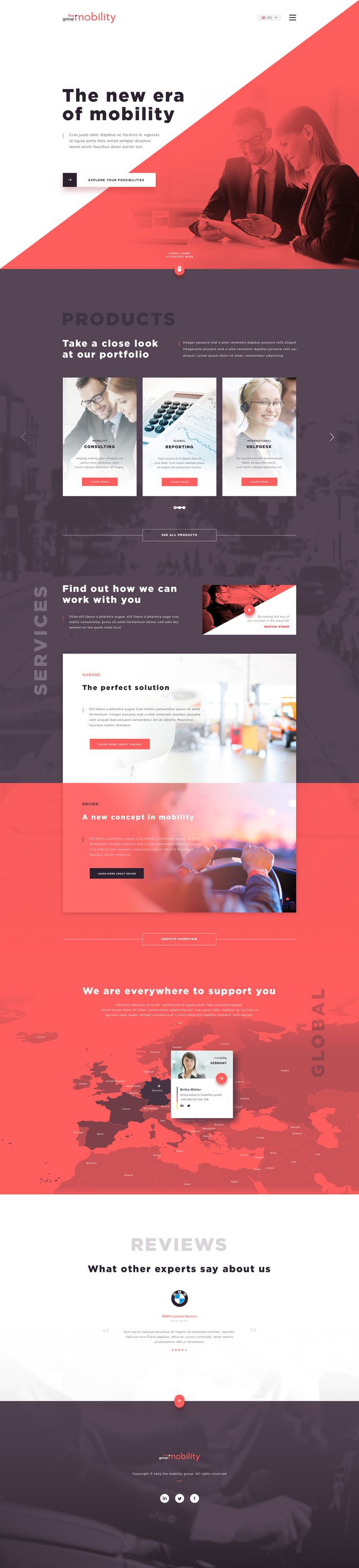The mob group Ui design concept for homepage.