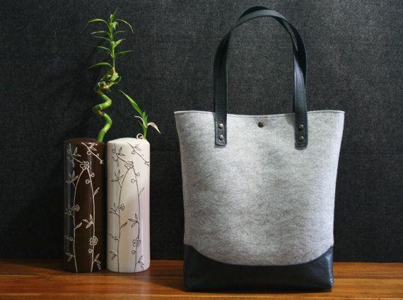 Leather tote bag, handmade bag,felt bag,, black leather,  grey tote, tote, large tote bag, felt tote bag