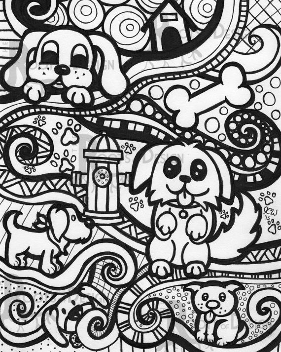 Dog Instant Downloadable Print. This beautiful and detailed zentangle inspired, doodle art, design was hand drawn and turned into a print for your