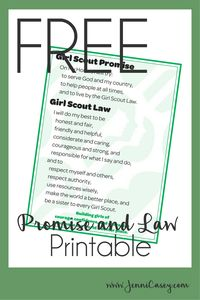 Girl Scout Promise and Law Free Printable
