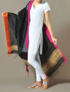 Black Jhiri Cotton Dupatta