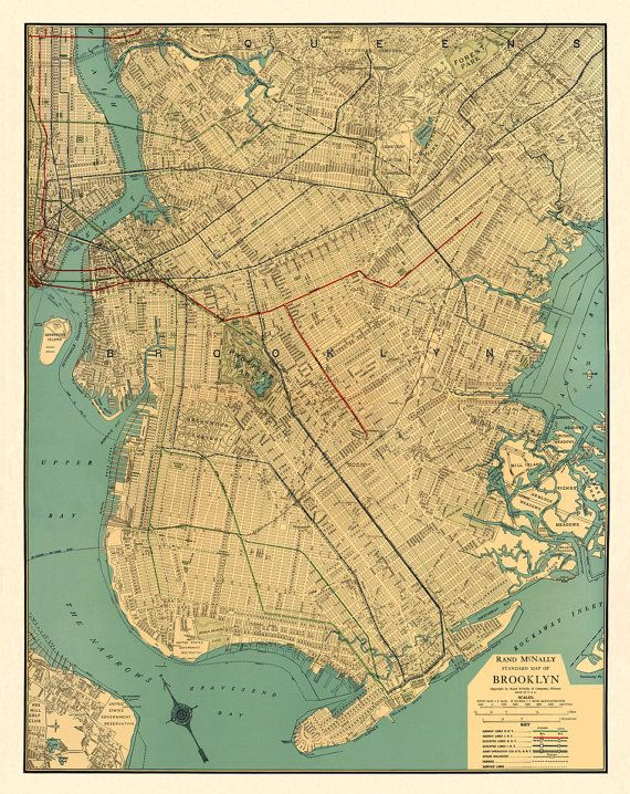 """Vintage map - Brooklyn  antique map Print - 26 x 33 """" on Etsy, $48.00"""