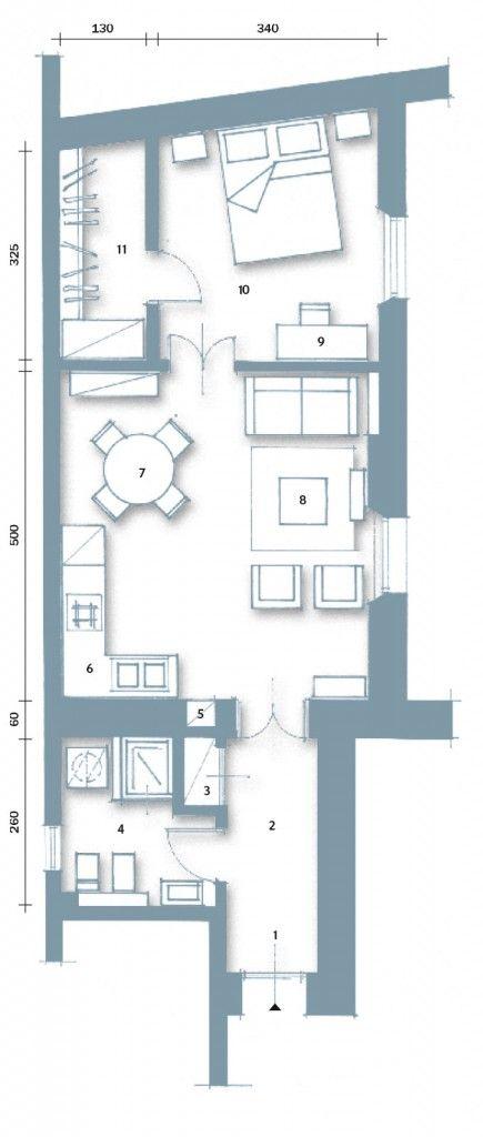 1- Ingresso 2 – Corridoio 3 – Armadio a muro 4 – Bagno 5 – Nicchia-ripostiglio 6 – Cucina 7 – Zona pranzo 8 – Salotto 9 – Angolo studio 10 – Camera 11 – Cabina armadio