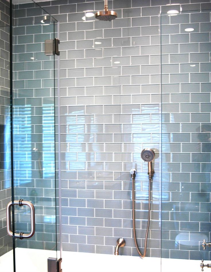 modern blue subway tiles bathroom: subway tile bat…