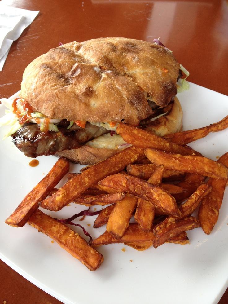 That was a Fantastic steak sandwich with sweet potato fries. Oh, Ya!!!