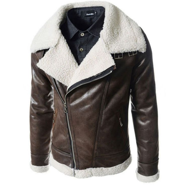 Leather Jacket Fur Hood Men Shearling Collar Motorcycle Jackets Boutique Winter Outerwear Biker Suede Coats Giacca Pelle Uomo