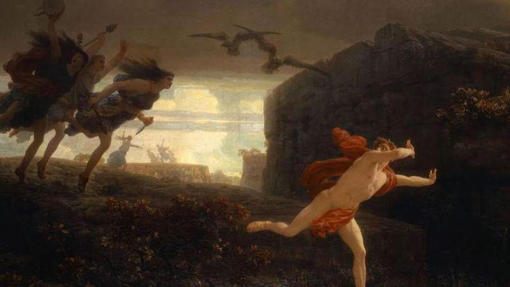 Dans «Penthée poursuivi par les Ménades», Charles Gleyre ose peindre le héros fuyant devant des femmes en furie.