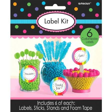 Complete your tasty candy buffet with our Multi Dots & Scallops Label Kit which features a classic and versatile multi color design with three display options: a stand, an adhesive label and a stick label. Use them in any combination you choose to personalized candy buffets, dessert tables or other food and drink stations. Multi Dots & Scallops Label Kit includes 6 labels measuring 9in across, 6 sticks, 6 stands and 6 pieces foam tape.