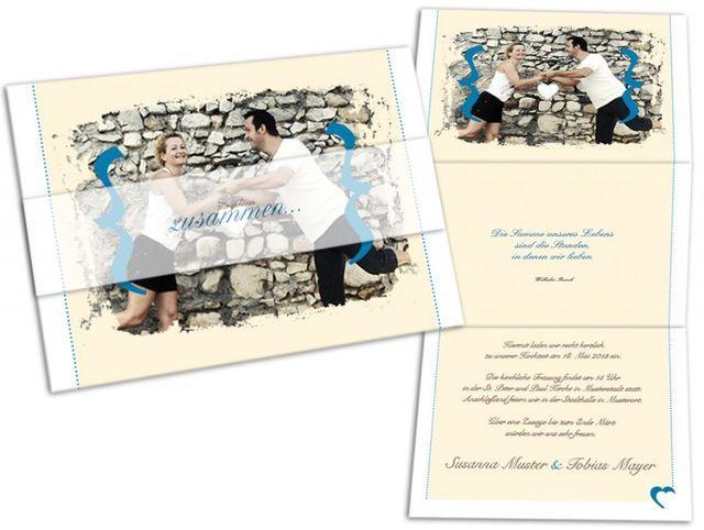 Hochzeitseinladungskarten - Zusammen mit individuellem Foto und ...