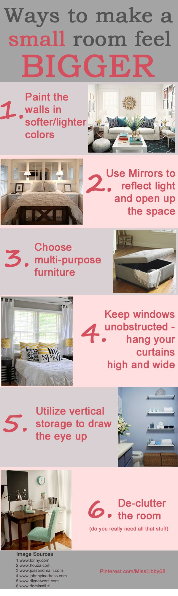 ways to make a small room feel bigger smallspaces cleverideas infographic - Bedroom Furniture Small Rooms