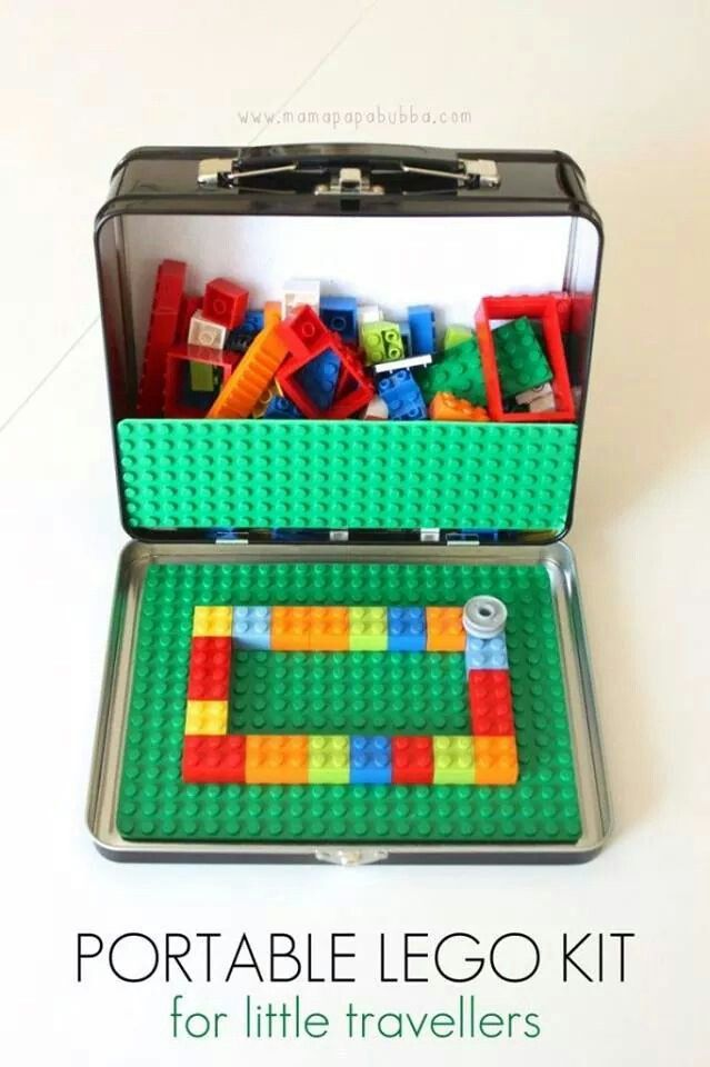 Lego suitcase. Needs to be a bit bigger than this lunchbox though.