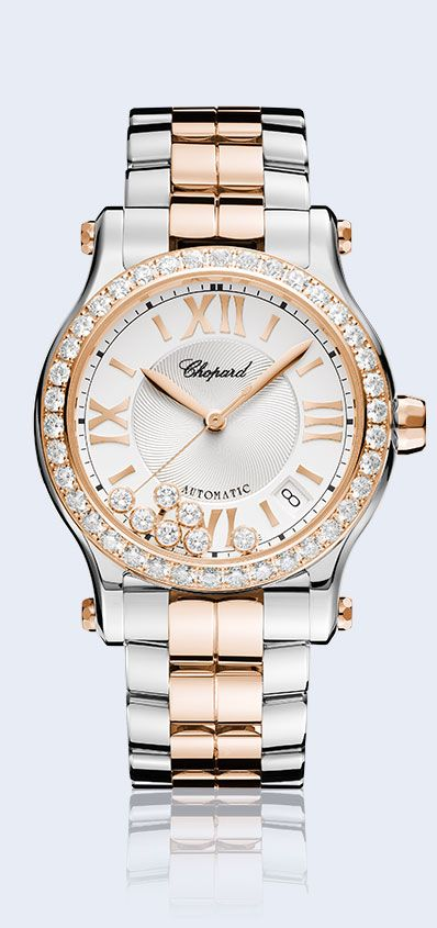 For playful summer style, pair a Happy Diamonds watch with flirty floral prints.
