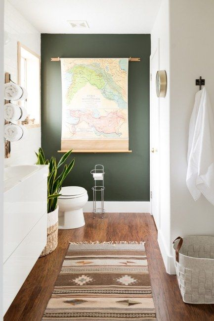 Dark Green Paint Color From Sherwin Williams, Painted Accent Wall For  Bathroom