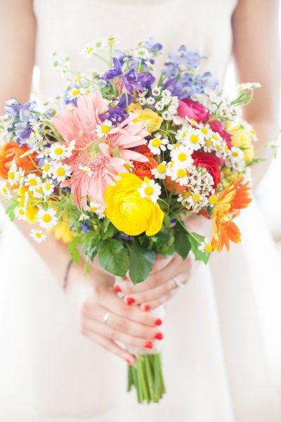 Bright Colorful Wedding Bouquet | Pushing Daisies Wedding Inspiration