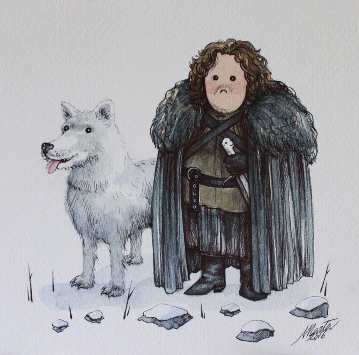 Jon Snow (Game of Thrones); acquerello e penna su carta. Ispirato alle illustrazioni di Olly Moss.
