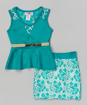 Love this Jade Belted Peplum Top & Lace Skirt - Girls by Citlali's Choice on #zulily! #zulilyfinds