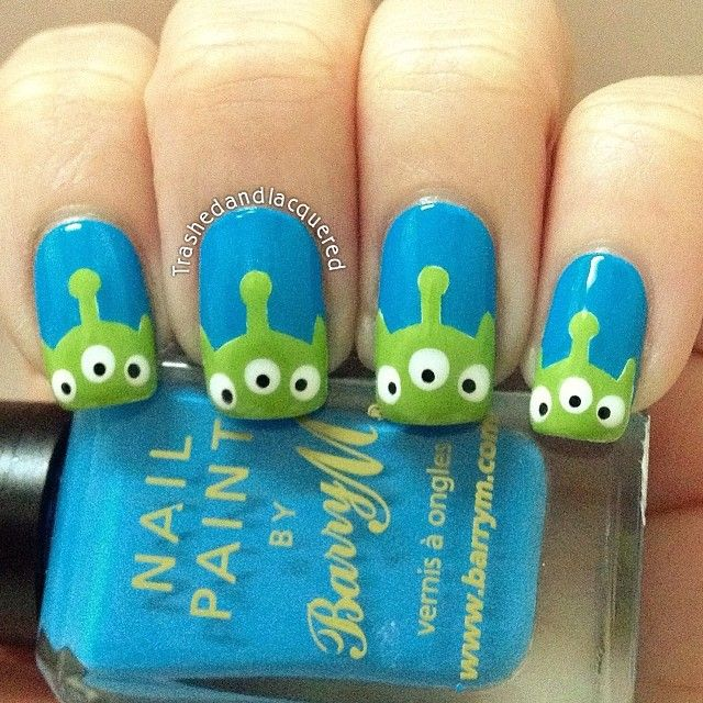 Dress up your nails on Halloween with this Martian Toys from Toy Story manicure tutorial.