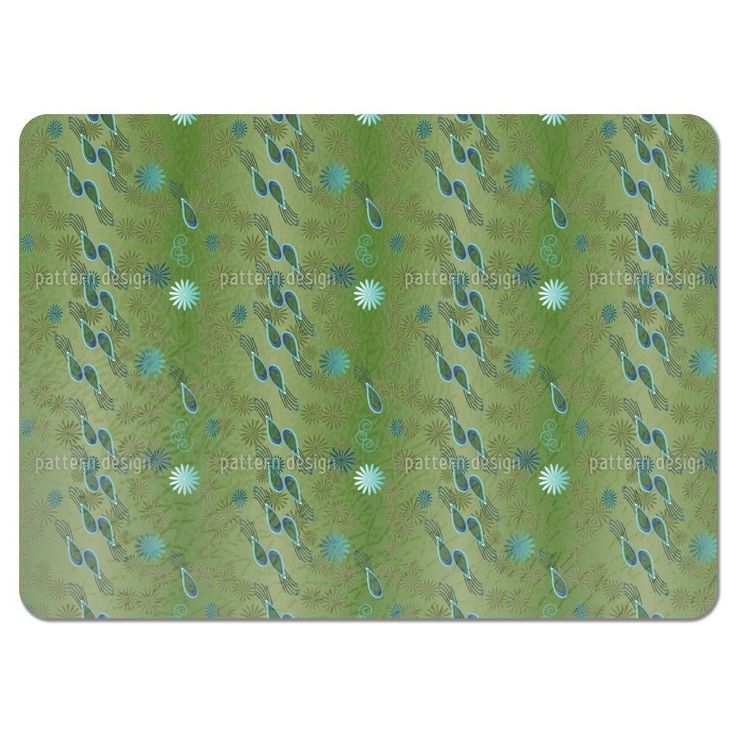 Uneekee Bellies Paradise Green Placemats (Set of 4) (Bellies Paradise Green Placemat) (Polyester, Floral)