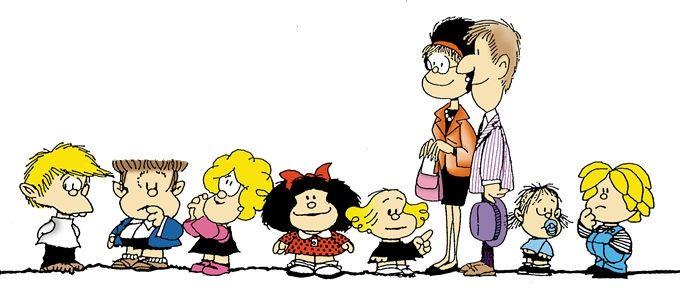 Mafalda and from left to right: Felipe, Manolito, Susanita, Mafalda, Libertad, her Parents, Guille and Miguelito
