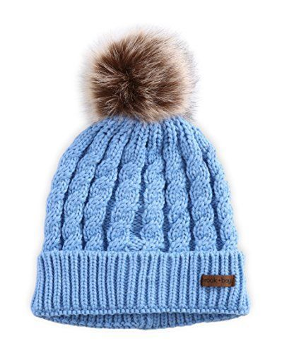 Women Faux Fur Pom Pom Beanie Cable Knit Hat Thick Soft Warm Winter Blue 739770b0017