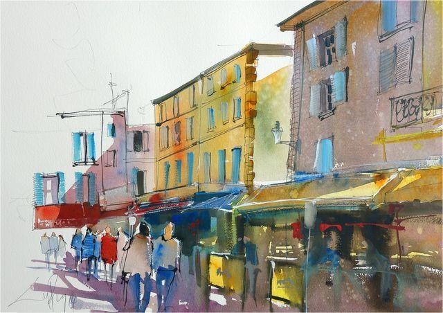Craig Penny: Arles France, 54 x 38cm, Watercolour on Paper