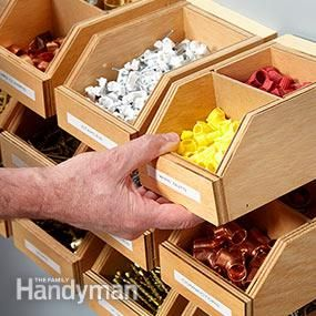 Interlocking French cleats,   Garage Shelving Plans: Hardware Organizer - get the #DIY #plans: http://www.familyhandyman.com/workshop/storage/garage-shelving-plans-hardware-organizer/view-all