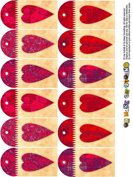 ces tags décorés de cœurs existent également dans un format un peu plus grand (six tags pour une planche) : ils s'adapteront ainsi aux pages de scrap comme aux mini albums ou aux cartes... nous aimons particulièrement les couleurs de ce set au style vintage...