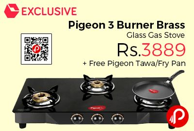 Snapdeal #Exclusive is offering 44% off on Pigeon 3 Burner Brass Glass Gas Stove at Rs.3889 + Free Pigeon Tawa/Fry Pan worth Rs.745. The Pigeon brass and glass top burner comes with 3 sturdy burners of equal sizes made from high-grade brass. It has three burner gas stove that are perfect for domestic use.   http://www.paisebachaoindia.com/pigeon-3-burner-brass-glass-gas-stove-at-rs-3889-free-pigeon-tawafry-pan-snapdeal/