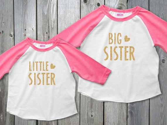 Grande soeur petite soeur Glitter Raglan chemises par MamiOrigami