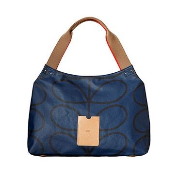 Orla Kiely ETC Shoulder Bag - Giant Linear Stem Print Blue Twilight