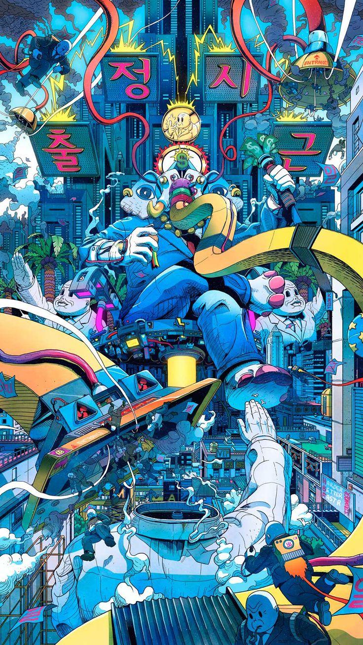 Großartige Illus von Lee Juyong aus Südkorea: Modern life is a rubbish, eine Art Comic über Mr Misang, der in 'nem dystopischen, gleichgeschalteten Ultrakapitalismus seine individuellen Super