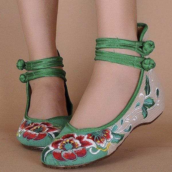 Hot-sale Floral Print Color Match Chinese National Wind Style Vintage Button Flat Shoes - NewChic