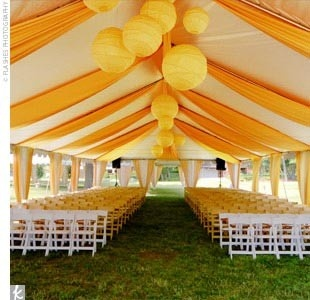 yellow tent on a golf course for a reception - Yellow Canopy Decor