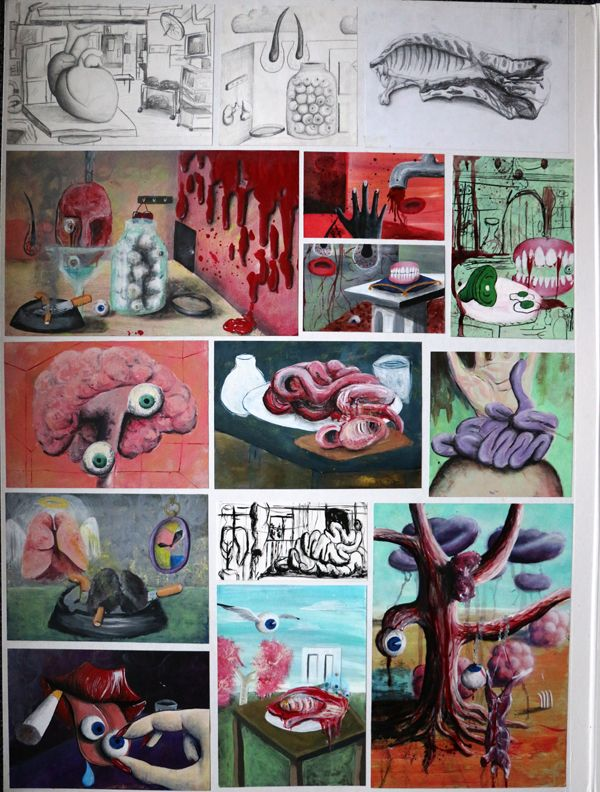 Top Art Exhibition - Painting » NZQA 2015 Tayla Willetts, Spotswood College Board 1 Techniques / Processes / Materials I developed my own style in the last two boards. I found techniques that were fun and interesting. I tried to be as experimental as possible. I wanted to create confusion, colour, disgust and beauty, all in one board.