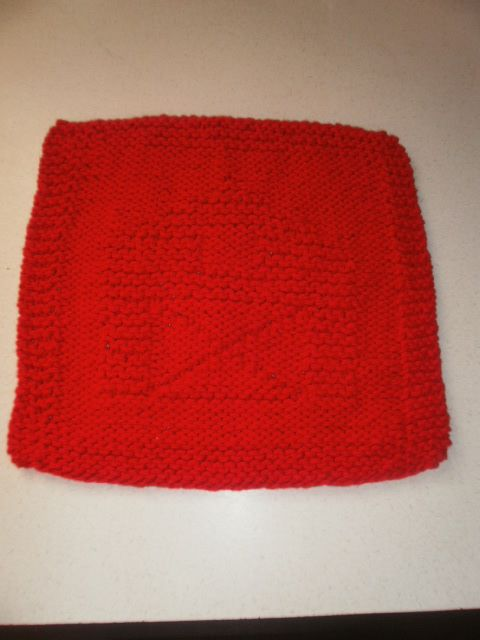Knitted Barn Dishcloth - $3.00 (1 available)