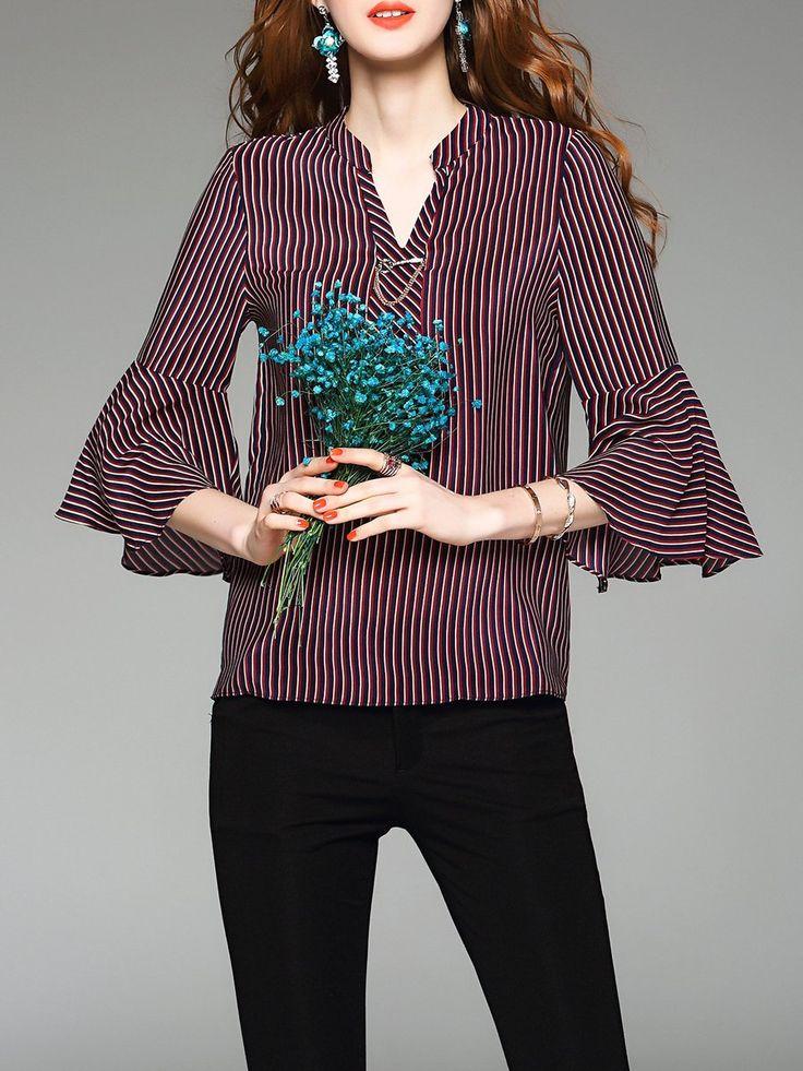Shop Blouses - Purple Silk 3/4 Sleeve Stripes V Neck Blouse online. Discover unique designers fashion at StyleWe.com.
