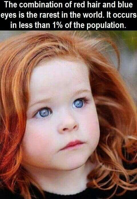 The Combination Of Red Hair And Blue Eyes Is The Rarest