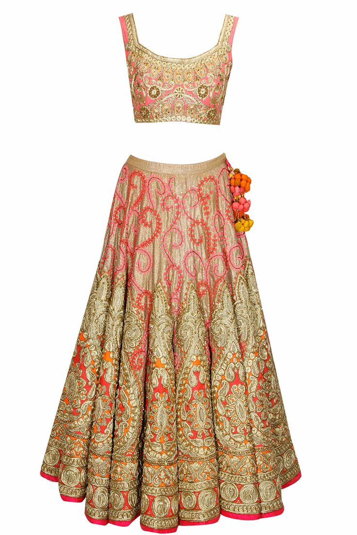 Pink and gold embroidered bridal lehenga set by Aharin India. Shop now: http://www.perniaspopupshop.com/designers/aharin-india #lehenga #aharin #shopnow #perniaspopupshop