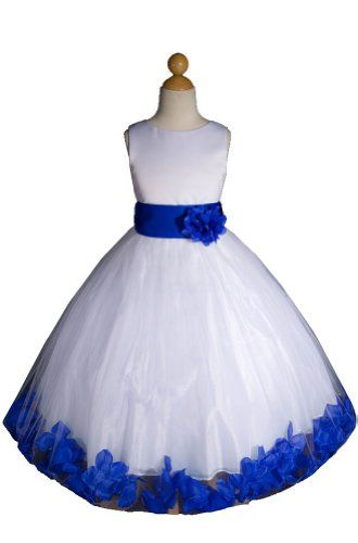 Oh My God!! I love this Flower Girl dress!!  It would be the perfect flower girl dress for my wedding -- if I can get my sister, Isabella, into it that is!!  Royal Blue (same as Horizon) and White.