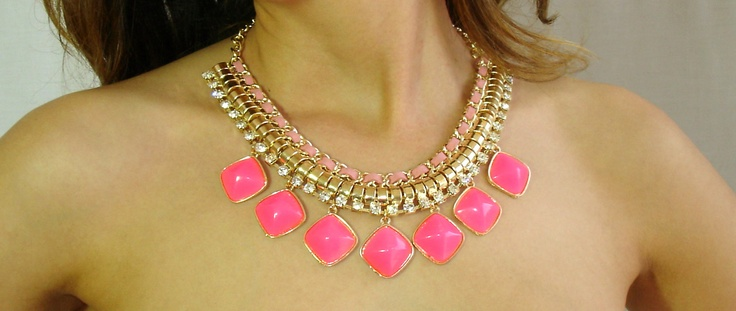 Pink Fluo Statement Necklace at www.meunique.gr